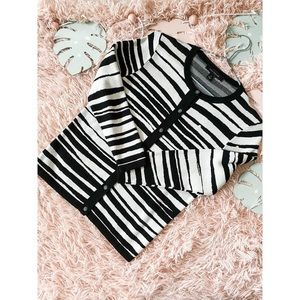 Ann Taylor Striped Cardigan Black and White